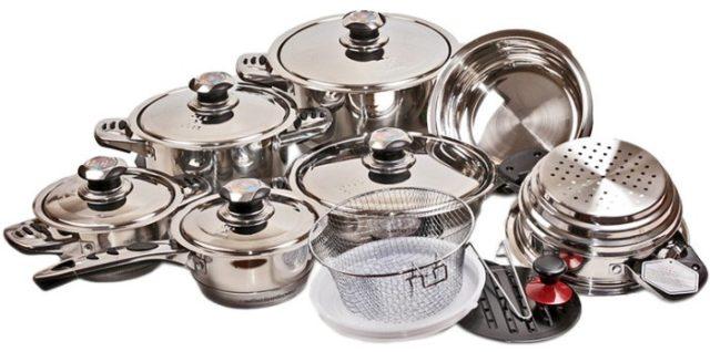 Большой набор посуды из нержавейки